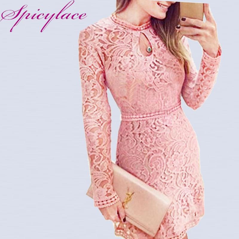 Spicylace جديد مثير المرأة الخريف الدانتيل جوفاء طويلة الأكمام خمر اللباس عارضة غمد الركبة طول الفساتين للحزب مساء