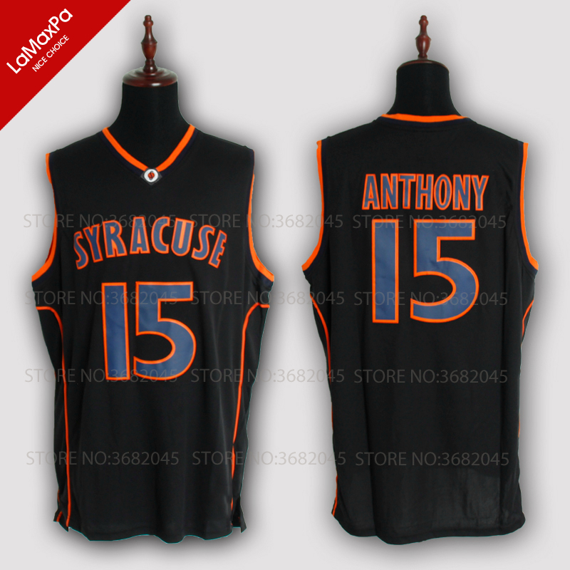 15# Carmelo Anthony Basketball Jerseys Syracuse University Throwback Knitted Embroidery High Quality Shirts 3 Colors ...