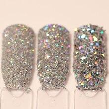 Zestaw 3 pudełek z brokatem do paznokci Holo złoty srebrny laserowy proszek błyskotka zestaw do zdobienia paznokci cekiny