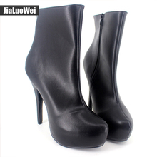 jialuowei Brand Sexy Women Boots 15cm High heels Zip Lady Platform Pointed toe Mid-Calf Plus Size Wine