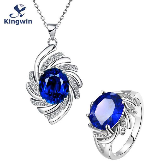 Multa de moda branco banhado a ouro semi-preciosa safira azul cz diamante sintético mulheres conjuntos de jóias por atacado frete grátis