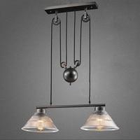 2 head art deco Hanging glass black Pendant Lamps Light adjustable pulley for Dining Room/bar/restaurant Kitchen Lighting/cafe