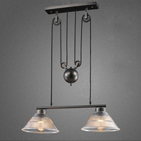 2 hoofd art deco Opknoping glas zwart Hanger Lampen Licht verstelbare katrol voor Eetkamer/bar/restaurant Keuken verlichting/cafe