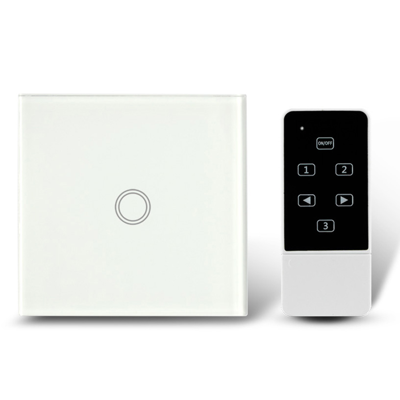 EU Standard Touch Screen Glass Panel and Remote Control Light Switch 1 Gang , RF 433Mhz, Smart Home Electrical Wall Switches smart home us black 1 gang touch switch screen wireless remote control wall light touch switch control with crystal glass panel