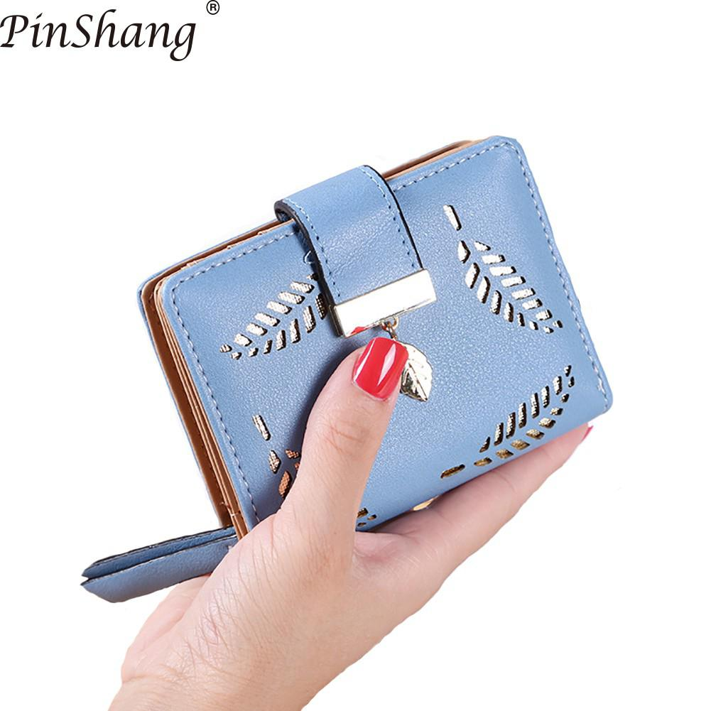 2018 Women Wallet Short Purse Gold Hollow Leaves Pouch Handbag Zipper Pocket Wallets For Women Coin Purse Fashion Card Holders
