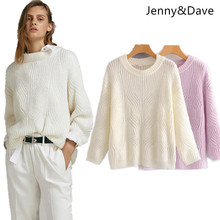Jenny Dave 2018 england style sweate autumn and winter panelled o-neck  mohair regular fallow pullovers 5129c69d85db