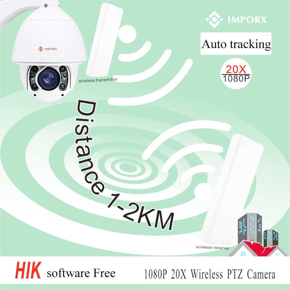 wireless ptz ip outdoor security camera 1080P 20X zoom auto tracking ptz ip camera with transmitter & one receiver