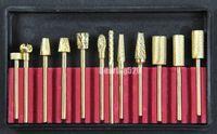 Золотым Покрытием 12 шт. карбида ногтей сверла для Электрические ногтей сверлильный станок 3/32