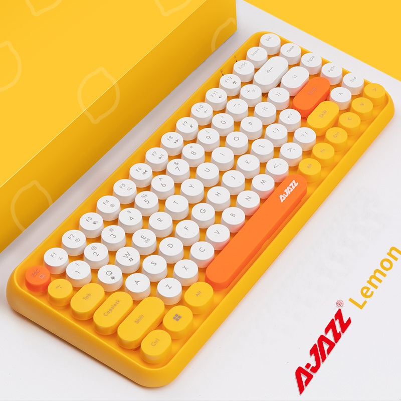 Ajazz 308 2  Multi-Device Steam Punk Retro Round Keycap Universal Bluetooth Wireless Keyboard For Mobile Phone,Tablet ,Notebook