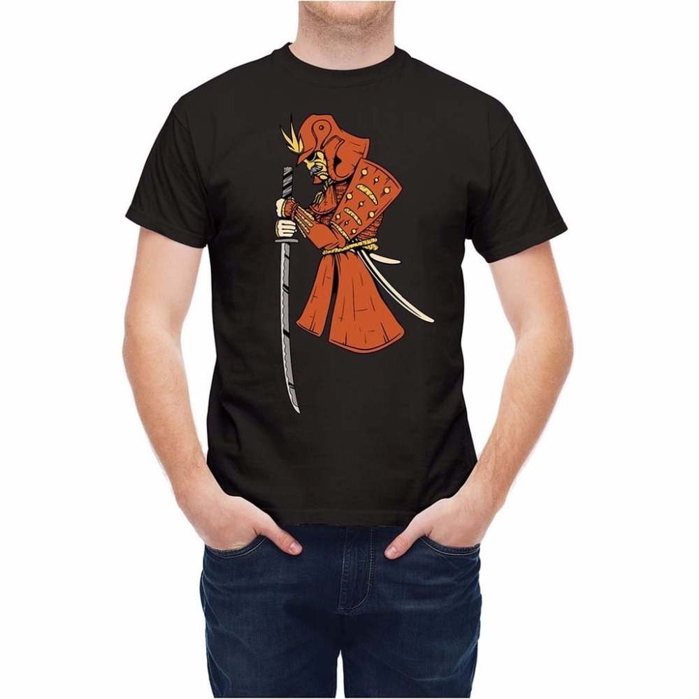 Tops 2018 Fashion Short Shirt Hip Hop Cotto Traditional Chinese Japan Samurai Warrior Funny Tops Tees Shirts