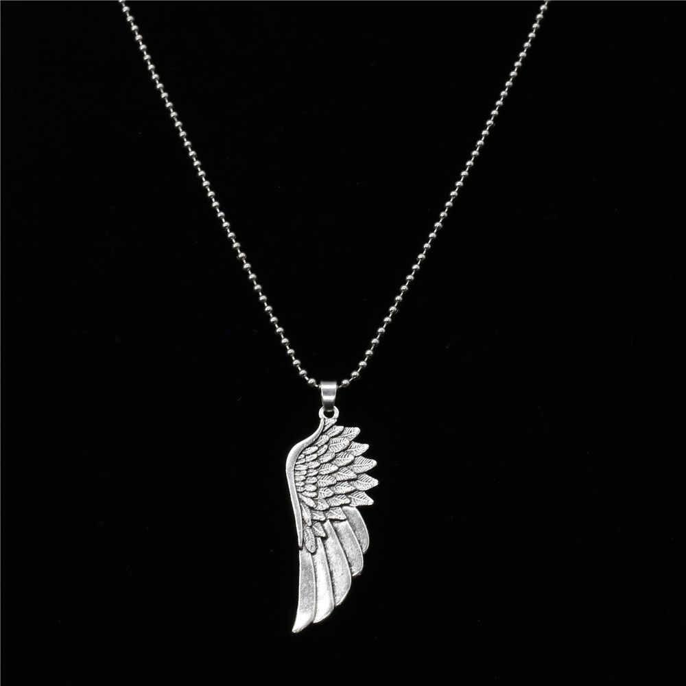 Nowy mężczyzna Punk długi niestandardowy sweter choker łańcuszek naszyjnik muzyka uwaga anioł skrzydło wisiorek z piórkiem naszyjnik mężczyźni kobiety biżuteria