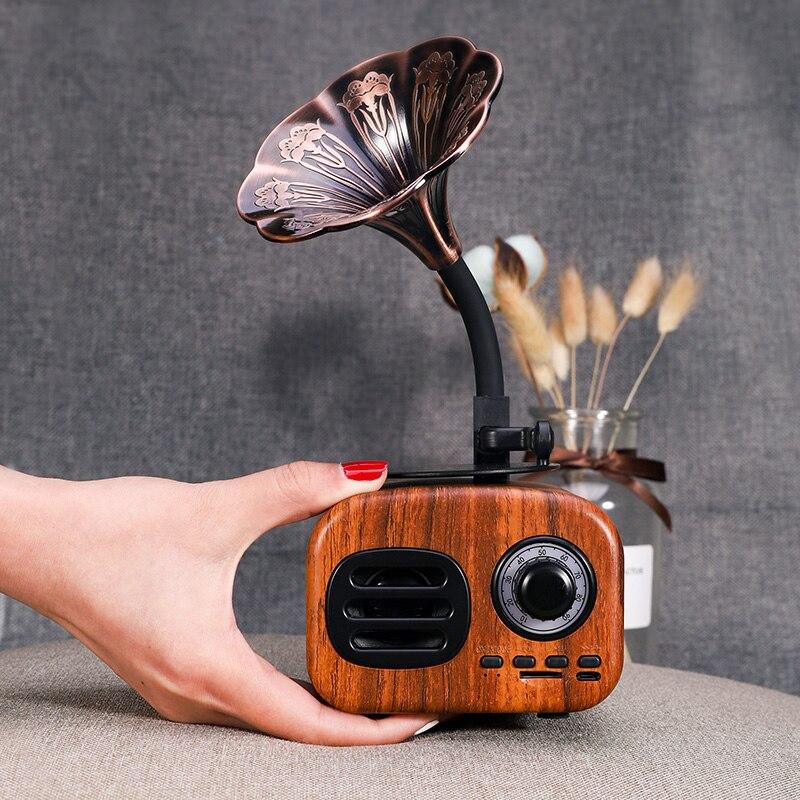 Retro madera portátil Mini Altavoz Bluetooth altavoz inalámbrico altavoz exterior sistema de sonido TF FM Radio música Subwoofer Q8