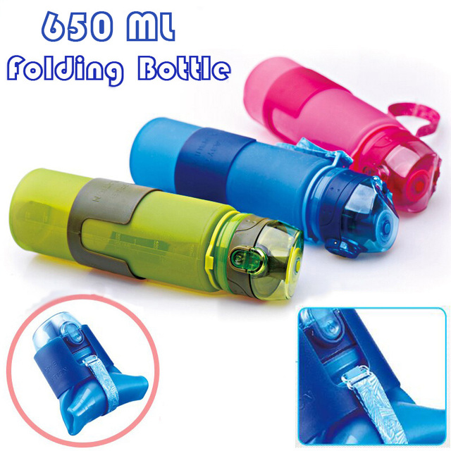 2016 Portable 650ml Silicone Folding Water Bottle Climbing Hiking Camp Sports Kettle Leak-proof Plastic Bottle Drinkware