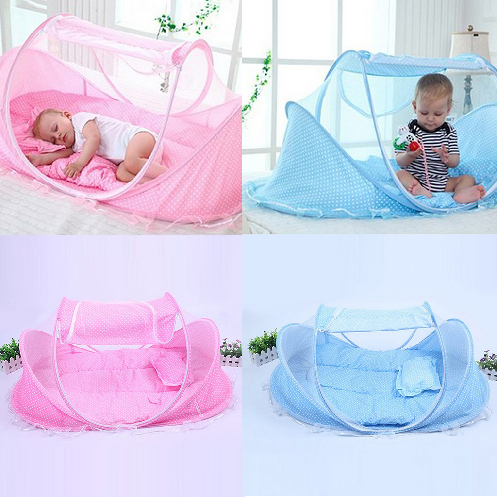 Portable Foldable Baby Infant Toddler Mosquito Bed Crib Mattress Pillow and Tent for Outdoor Indoor Travel