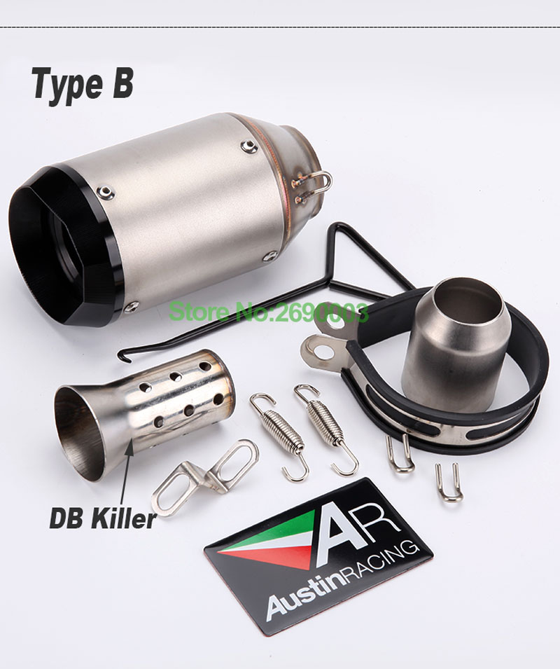 US $40 05 11% OFF Motorcycle AR Austin Racing Exhaust Pipe Silencer  Motorbike Escape with DB Killer Fit for Z1000 Z800 NINJA250 Z750 KTM  CRF230-in