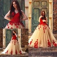 BONJEAN Plus Size Red 3D Flowers Ball Gown Prom Dresses 2019 Arabic Long Puffy Sweetheart Princess Party Dress Vestido de Festa