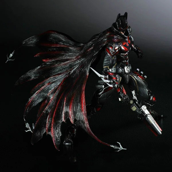 28cm Play Arts Kai Super Hero Batman Red Arkham Knight Anime Action Toy Figures Pvc Model Collection Original Box