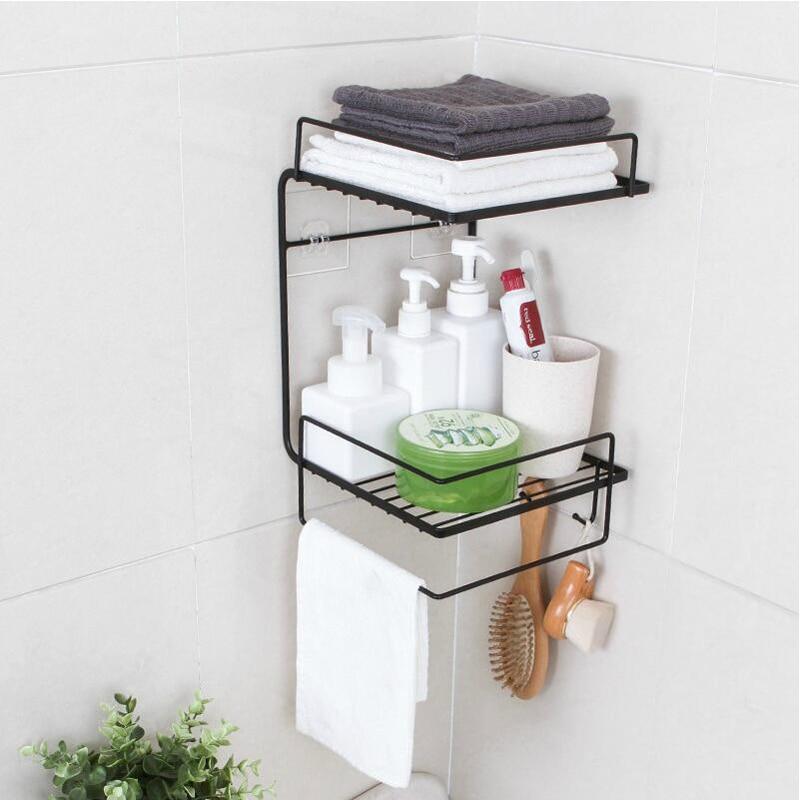 Corner Bathroom Shelves Storage Wall Mounted Durable Shower Caddy Organizer Rack For Kitchen Toilet Shower Dorm Adhesive Hook