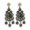 DC1989 Fashion Style Women Vintage Earrings Flower Tassel Black Gold Plated Multi Cubic Zircon Drop Dangling for Party Ladies