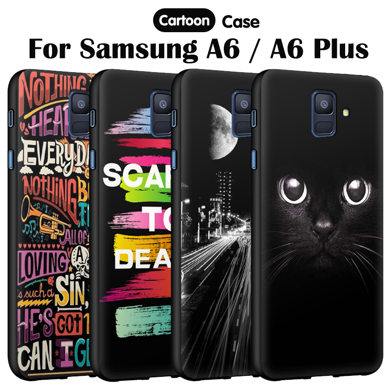 JURCHEN Phone Case For Samsung Galaxy A6 2018 Cases Cartoon Soft Silicone Cover Case For Samsung