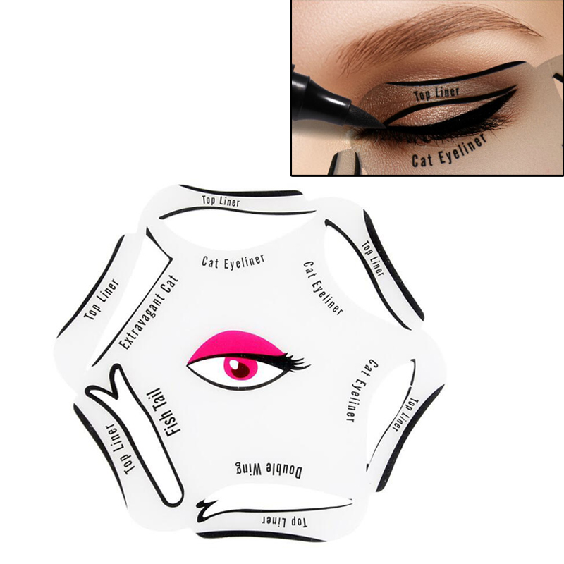6 in 1 Stencil Eyeliner Template Smoky Eyes Trucco rapido Stencil Cat - Trucco