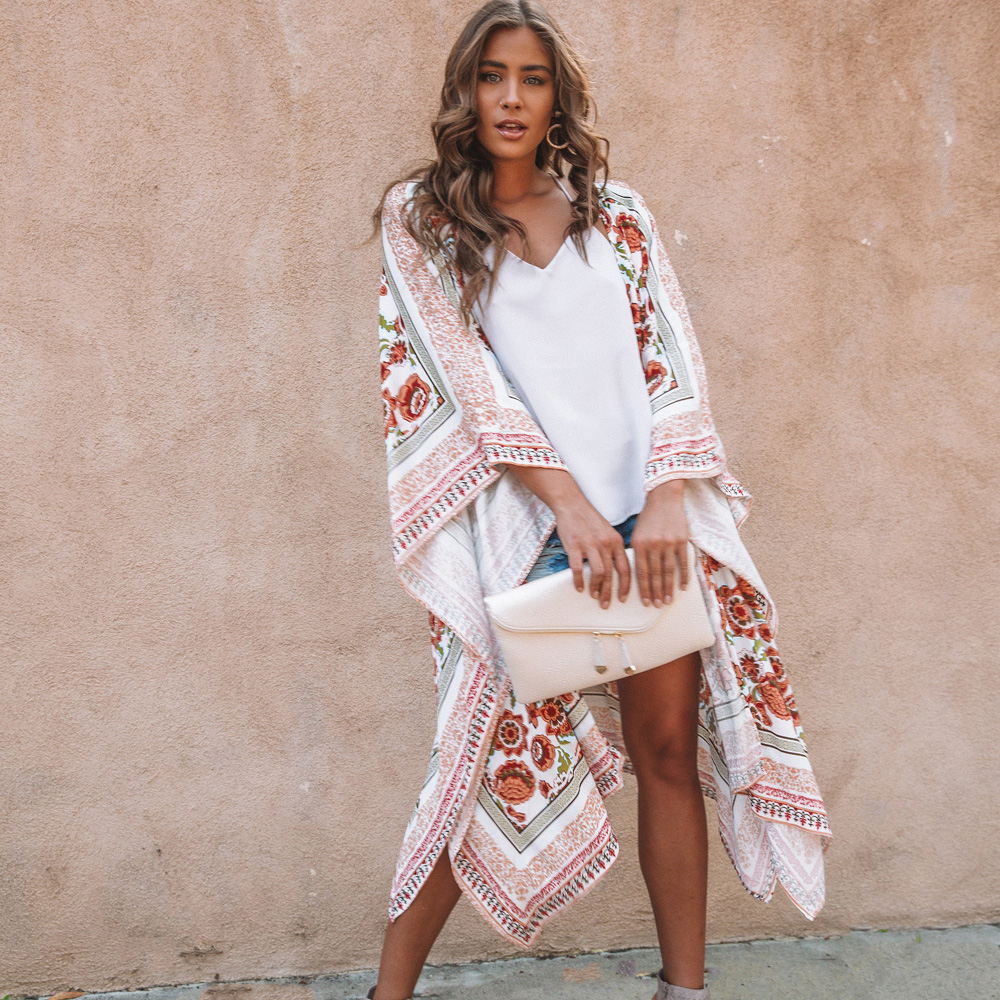 JSMY Women New Summer Flower Print Sunscreen Cardigan Long Dress Chiffon Loose Tunic Robe Cover up in Dresses from Women 39 s Clothing