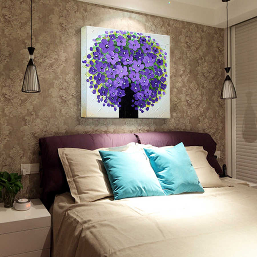 Pure Hand Painting Oil Painting Purple Flower Modern  Fashion Abstract Knife Oil Painting Canvas Frameless Home decoration 50X50