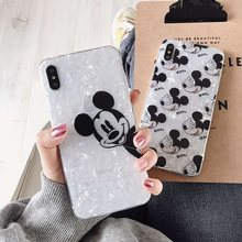 Cute dos desenhos animados mickey minnie casos de telefone para iphone7 caso silicone transparente capa para iphone6 6s 7 8plus xr xs max xs capa(China)