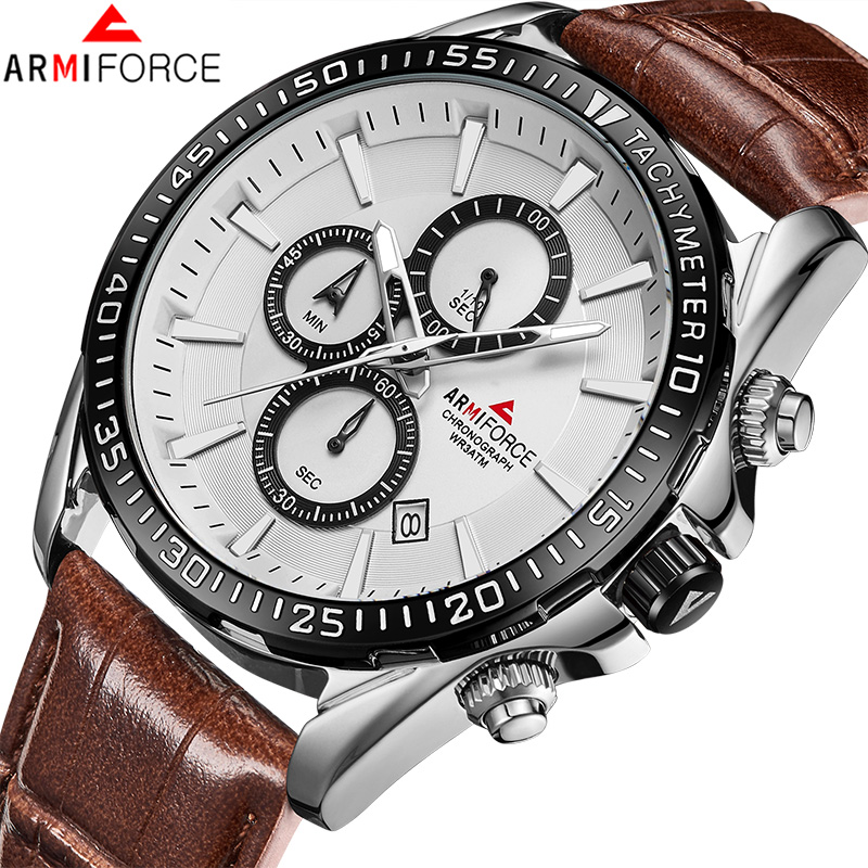 ARMIFORCE New Men Watches Top Brand Men's Fashion Chronograph Quartz Watch Male Genuine Leather Sport Clock Relogio Masculino genuine jedir quartz male watches genuine leather watches racing men students game run chronograph watch male glow hands