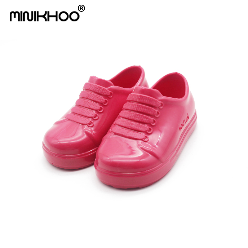 Mini Melissa 2018 Mini New Jelly Childrens Shoes Small Princess waterproof Student Shoes Pure Color Sets of Mouth Shoes