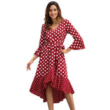 цены на Polka Dot Plus Size Dress 2019 Spring Flare Sleeve Asymmetric V-neck Women Vintage Ruffles Patchwork Ladies Dresses Fashion  в интернет-магазинах