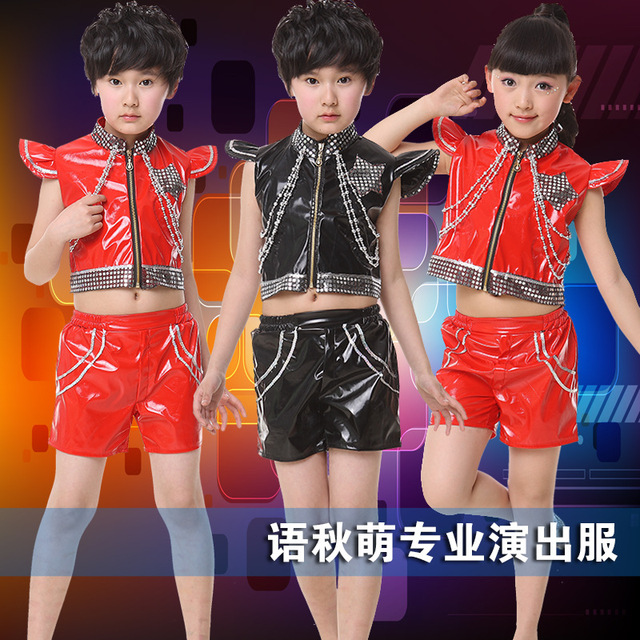 Cheap Children 's patent leather sequins Jazz dance clothing new boys and girls chain hip - hop performance suite