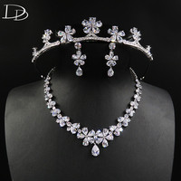 DODO Romantic Cherry Wedding Jewelry Set Shine AAA Cubic Zircon Tiara Necklace Earrings Sets Real White