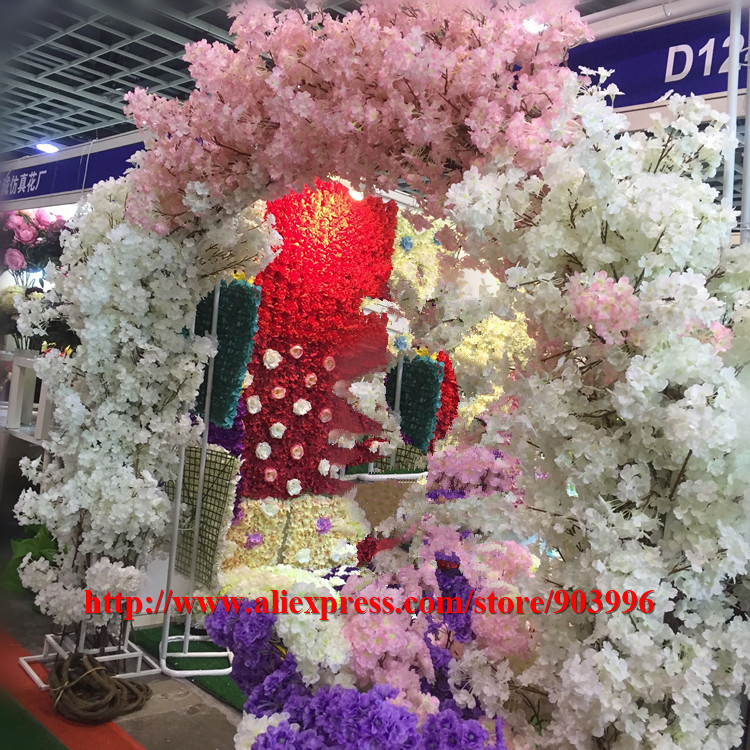 SPR NEW!! (20pcs/lot) Artificial flower Cherry blossom (114cm) more dense Home/wedding Decoration flowers Reception Hall Decor