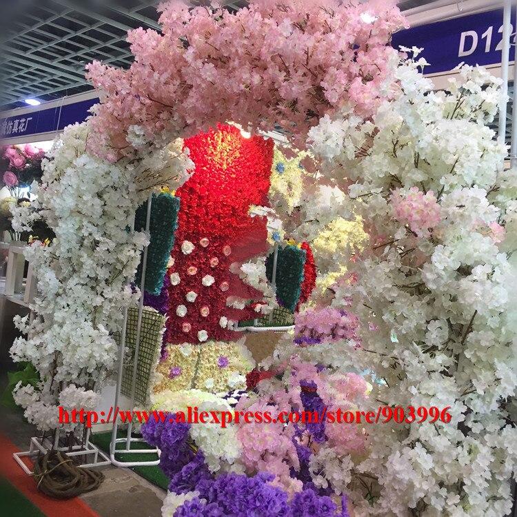 SPR nouveau!! (20 pcs/lot) fleur artificielle fleur de cerisier (114 cm) plus dense décoration maison/mariage fleurs réception Hall décor