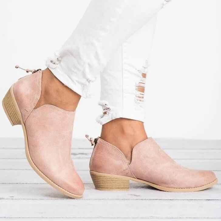HUANQIU 2018 İlkbahar Sonbahar Kadınlar kelebek-düğüm Chelsea Botları Slip-On Med Yüksek Topuklu Sivri Burun Ayakkabı Kadın wyq75