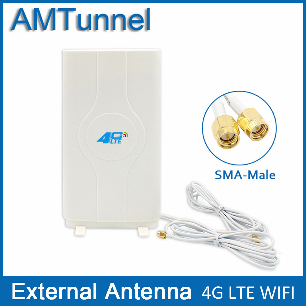 3G 4G LTE antenne Mobile antenne 2-SMA-male Stecker Booster mimo Panel-antenne mit 2 meter Kabel 700 ~ 2600 Mhz 88dBi