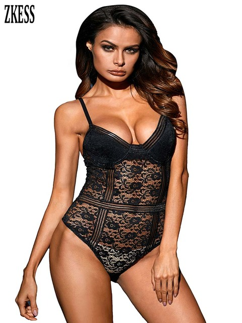 ZKess Women Black Sheer Floral Lace Bustier Bodysuit Sexy Adjustable Spaghetti Straps Sleeveless Stretch Bedtime Bodysuits 32169