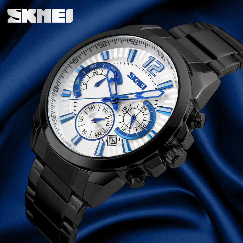 2018 SKMEI Brand Men's Mens Watches Watches Mens Full Steel Business Relogio Masculino De La Marca Erkek Kol Saati Quartz-Watch jialuowei brand extreme high heel 18cm 7 sexy fetish hoof heel wedges boots patent leather lace up ballet short ankle boots