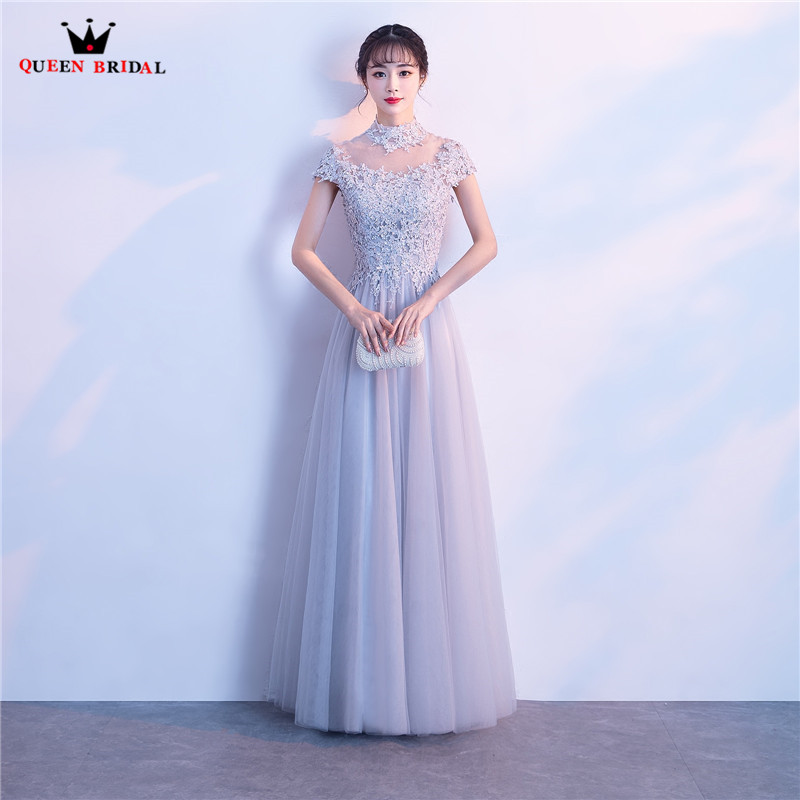Gray A-line Short Sleeve Floor Length Lace Tulle Prom Dresses Long Formal Elegant Party Dress Gowns 2018 New QUEEN BRIDAL PR07