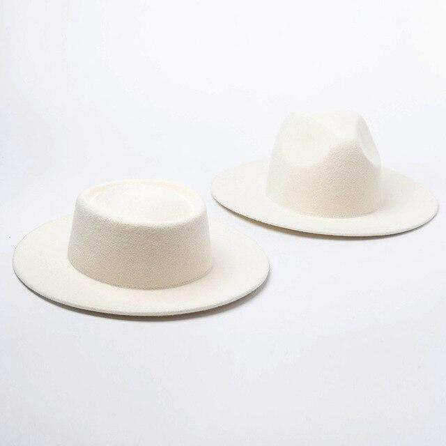 여자 100% 양모 펠트 모자 화이트 와이드 브림 페도라 웨딩 파티 교회 모자 돼지 고기 파이 페도라 모자 플로피 더비 트리비 모자 기지