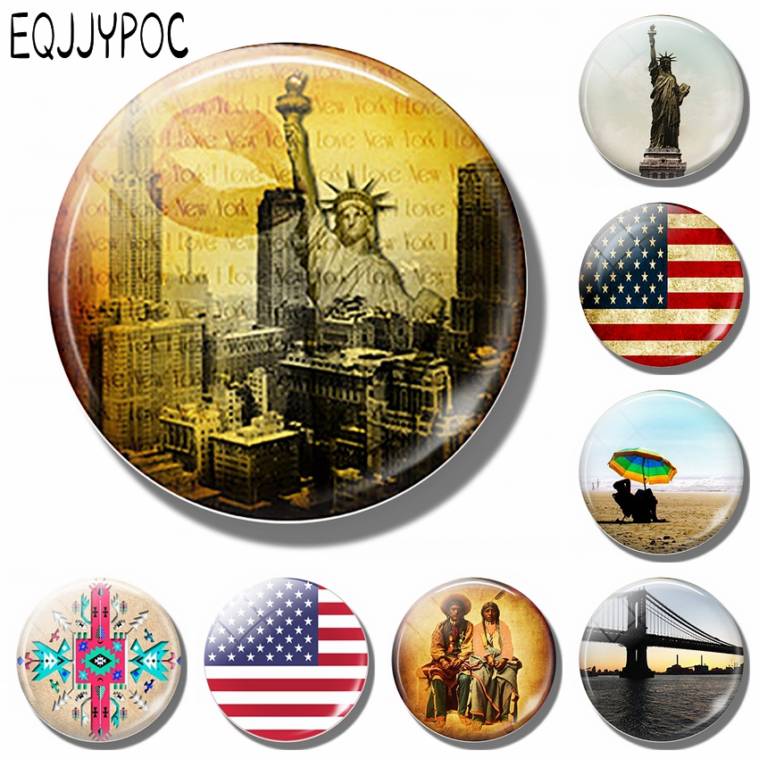 New York Skyline 30MM Fridge Magnet Souvenir Travel Statue of Liberty American Flag Glass Magnetic Refrigerator Sticker Holder image