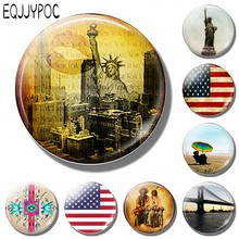 New York Skyline 30MM Fridge Magnet Souvenir Travel Statue of Liberty American Flag Glass Magnetic Refrigerator Sticker Holder(China)