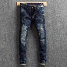 купить Fashion Classical Men Jeans Dark Blue Slim Fit Big Pocket Denim Cargo Pants Embroidery Ripped Jeans Men Streetwear Hip Hop Jeans дешево
