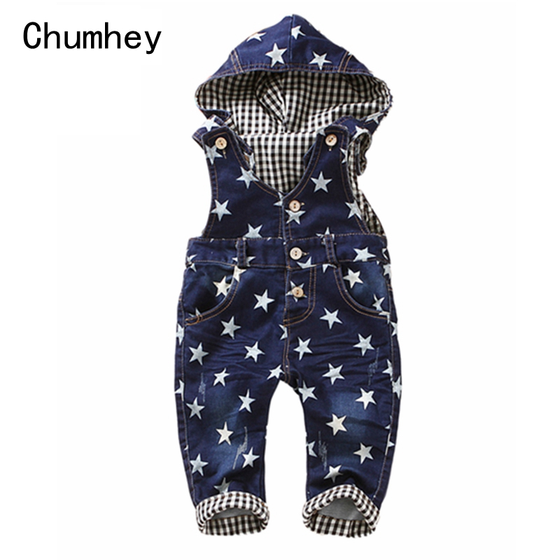 1 4T Baby Rompers Spring Girls Boys Stretchy Jeans Overalls Top Quality Kids Cotton Pants Stars
