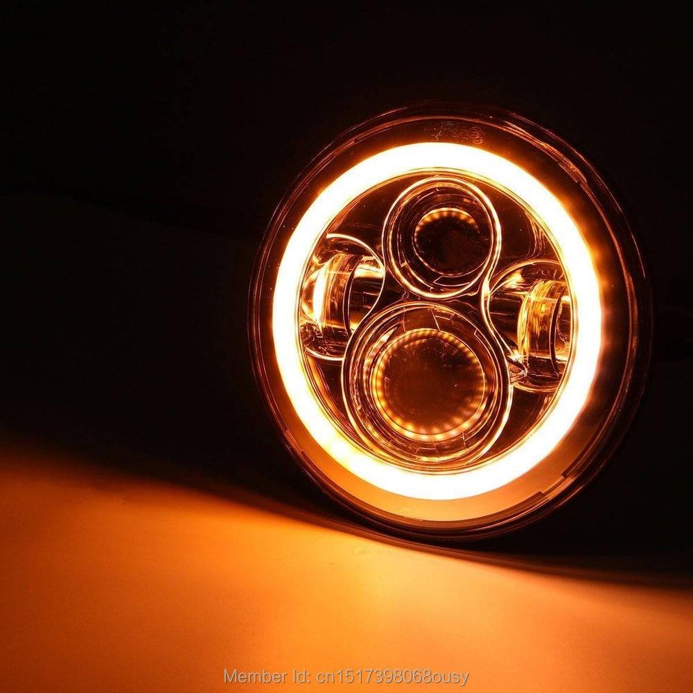 7 colių 45W LED priekiniai žibintai balti gintaro posūkio signalo - Automobilių žibintai