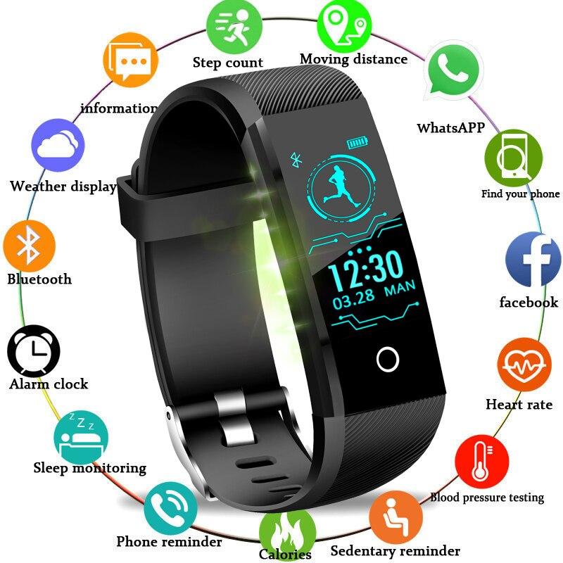 Bangwei New Smart Wristband Fitness Tracker Led Color Touch Screen Message Heart Rate Time Smart Watch Men Women Sport Watch+box Novel Design; In