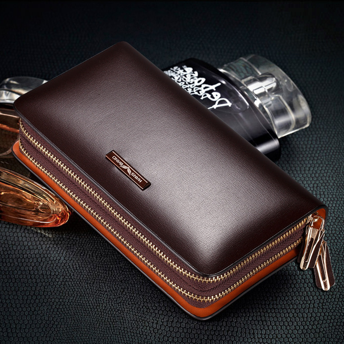 HANSBAND Genuine Leather Men Handbag Wallets Clutch Luxury Portfolio Coins Wallet Mobile Phone Bag Multifunction Men Money Purse hansband luxury brand men clutch wallet genuine leather hand bag classic multifunction mens high capacity clutch bags purses
