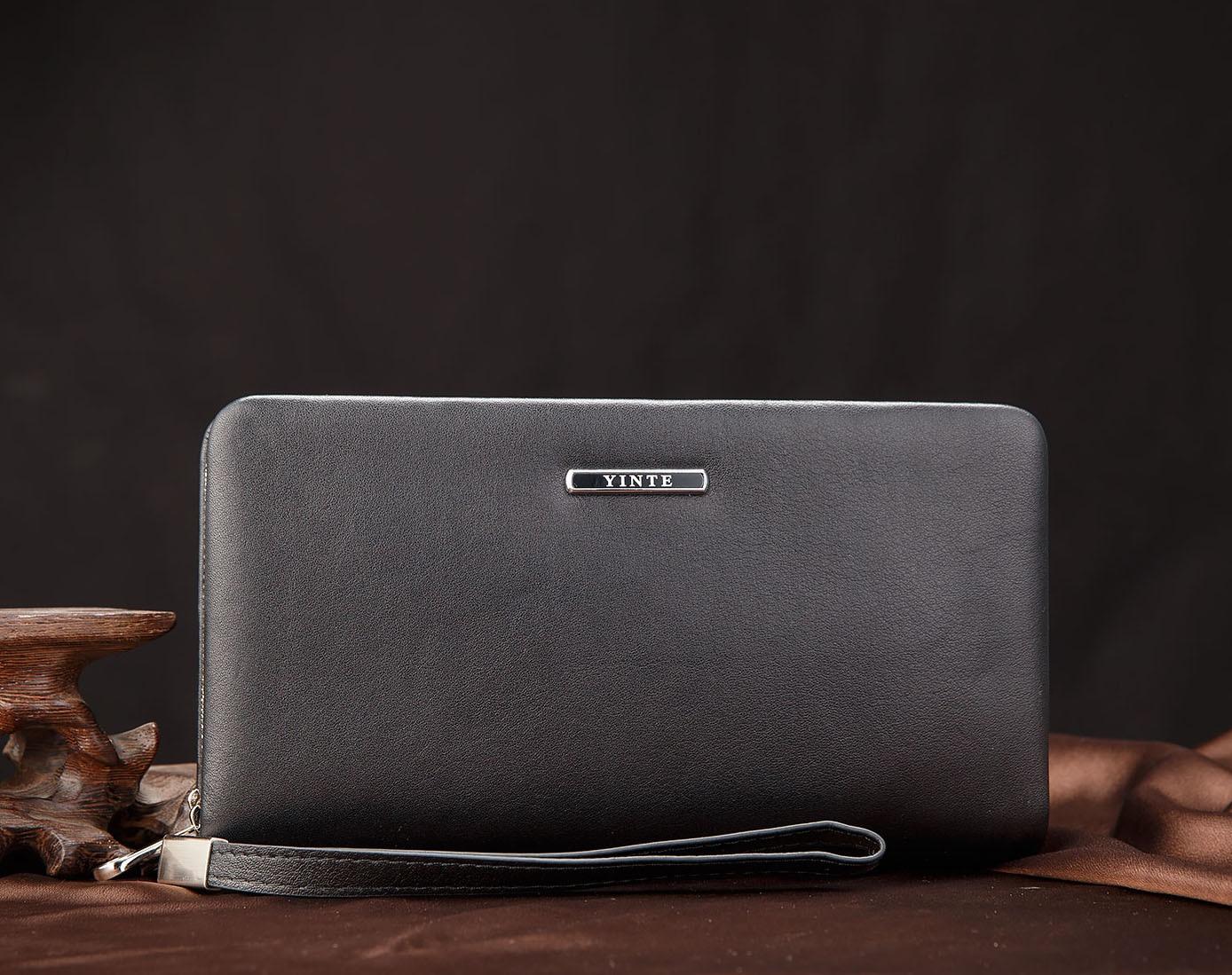 9fce38dd10 YINTE 2017 Leather Vintage Solid Pochette Casse Del Telefono di Marca Mens Portafoglio  Doppia Cerniera Sacchetto di Cuoio Genuino T1611 3A in YINTE 2017 ...