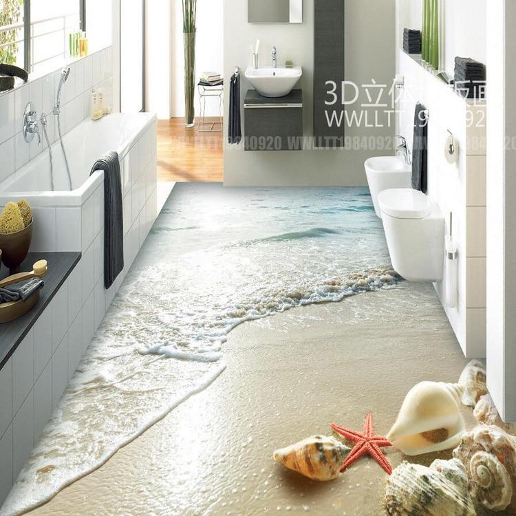 Hight Quality 3D Floor Wallpaper Shell Beach Design 3d Mural Vinyl  Wallpaper Kitchen Room Floor Decoration In Wallpapers From Home Improvement  On ...